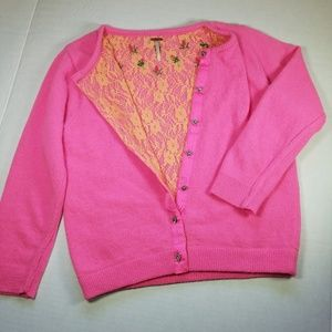 Free People cardigan, lace lining Sz S. Wool & Ang
